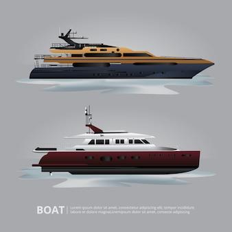 Транспортная лодка туристическая яхта для путешествий векторная иллюстрация