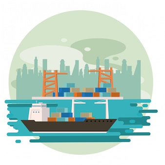 Transportation cargo merchandise ship cartoon