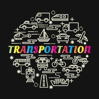 Transportation colorful gradient with line icons set