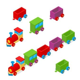 Транспорт красочный поезд игрушка изометрический вид. локомотивный груз.