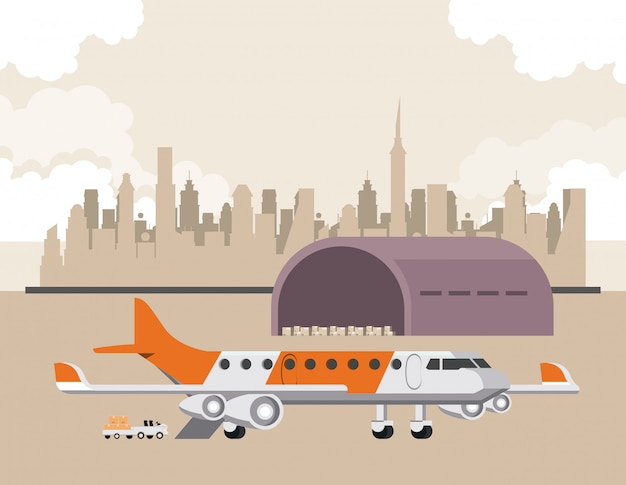 Transportation commercial passengers airplane cartoon