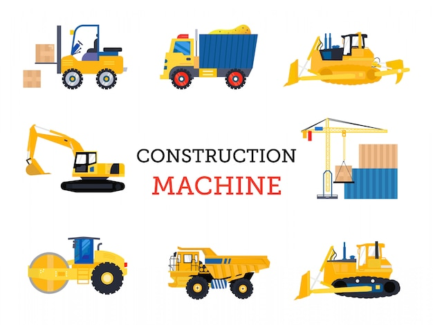Transportation construction machine isolated flat design