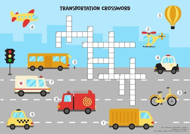Transportation crossword puzzle. colorful transport for kids. educational game for children. Premium Vector