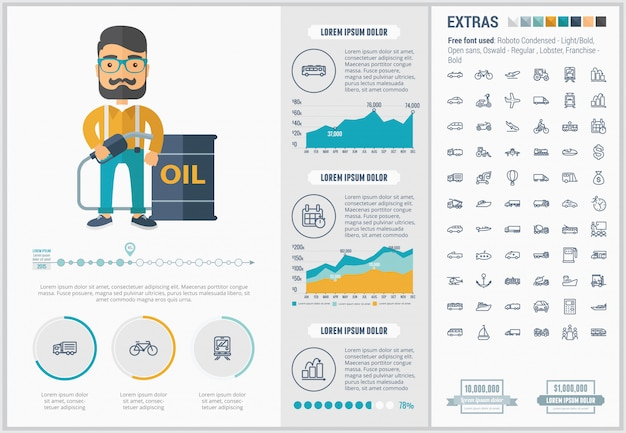 Transportation flat design infographic template and icons set