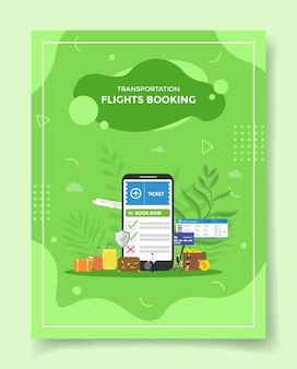 Transportation flight booking concept smartphone book ticket in screen display suitcase wallet coin dollar for template