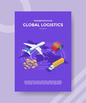 Transportation global logistics flyer template