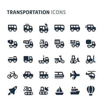 Transportation icon set. fillio black icon series.