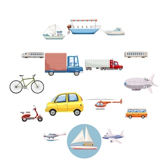 Transportation icons set, cartoon style