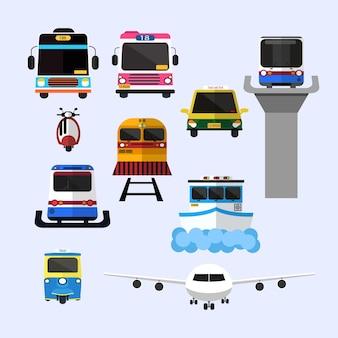 Транспорт в таиланде плоский дизайн значок векторные иллюстрации