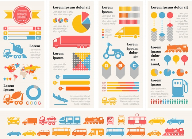 Transportation infographic elements.