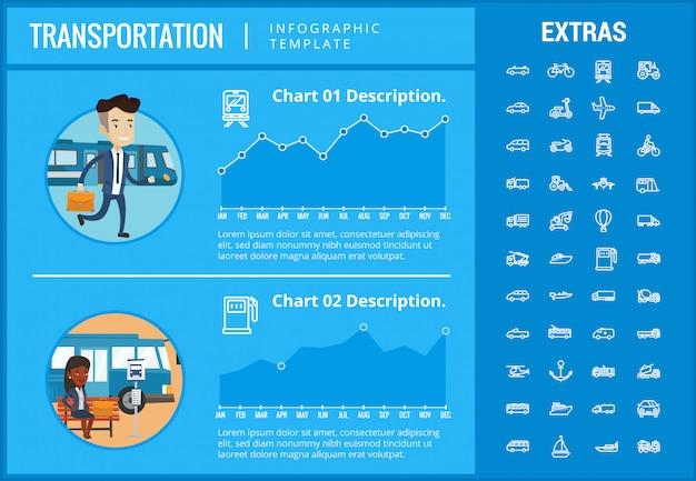 交通インフォグラフィックテンプレートと要素