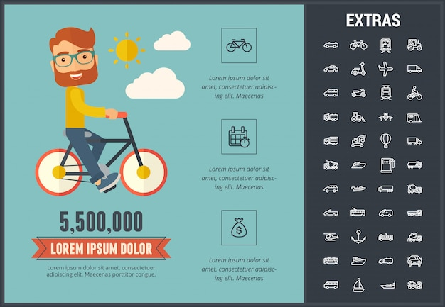 Transportation infographic template and elements.