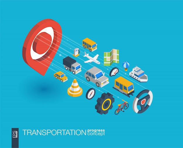 Transportation integrated  web icons. digital network isometric progress concept. connected graphic  line growth system. abstract background for traffic, navigation service.  infograph