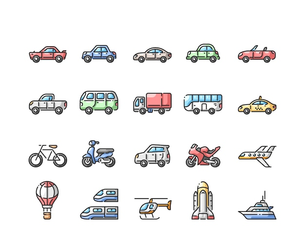 Transportation line color  icons set