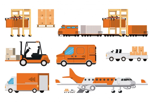 Transportation merchandise logistic cargo cartoon