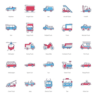 Transportation modes icons