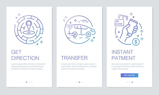 Transportation onboarding app screens.