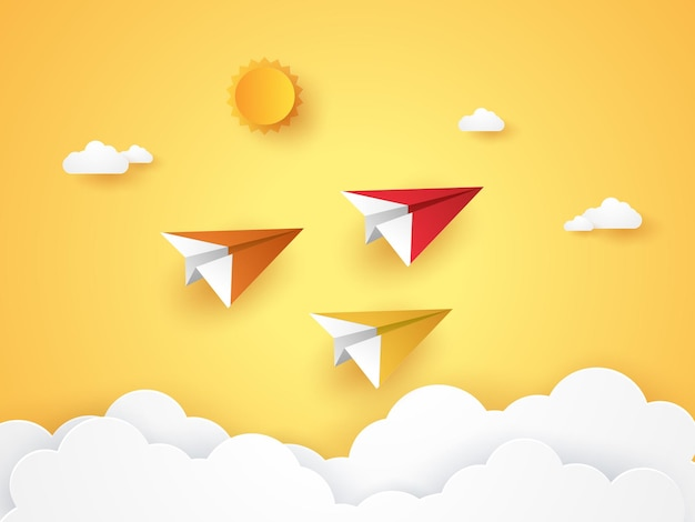 Transportation origami planes flying in the sky for summertime in paper art style