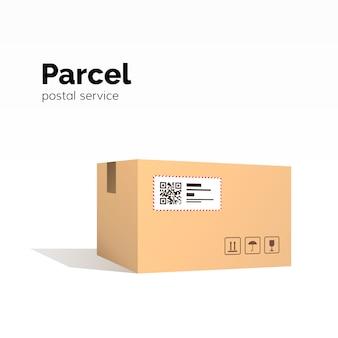 輸送小包。カートンボックスコンテナ。 qrコード、閉じた小包ボックス、パッケージ紙箱。パッケージサービス、
