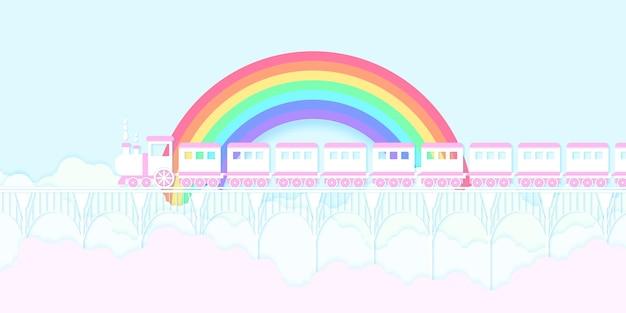 虹色の空と色とりどりの雲と橋の上を走る交通ピンクの電車