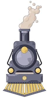 Transportation retro train flat icon vector illustration in hand drawn flat style
