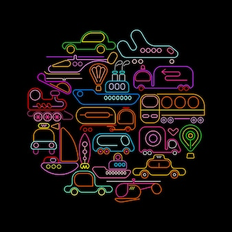 Transportation round neon icons