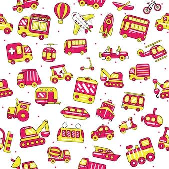 Transportation seamless pattern in flat design style