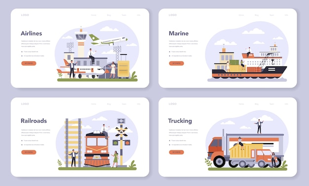 Transportation sector of the economy web banner or landing page set