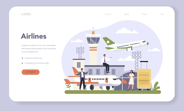 Transportation sector of the economy web banner or landing page