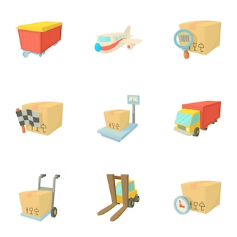 Transportation set, cartoon style