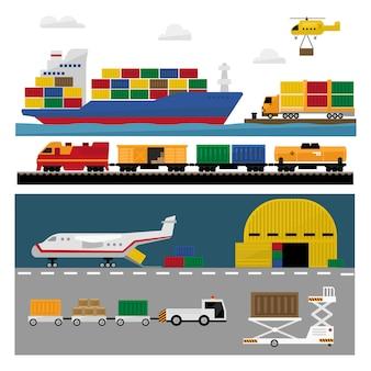Transportation and shipping flat set
