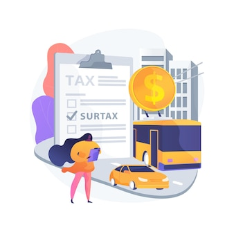 Transportation surtax abstract concept illustration