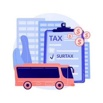 교통 부가세 추상적 인 개념 벡터 일러스트입니다. 인프라 부가세, 교통 및 연료 추가 과세, 지역 도로 교통 추가 요금, 대중 교통 서비스 요금 추상 은유.