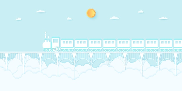 Transportation, train running on the bridge with blue sky, paper art style