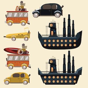 Transportation for travel set vector illustration