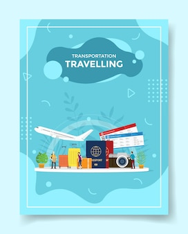 テンプレートのスーツケース飛行機パスポートチケットカメラの周りの交通旅行