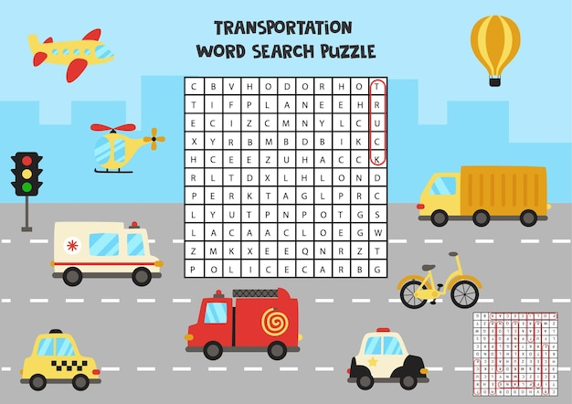 Transportation word search puzzle for kids. funny brain teaser for children.