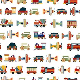 Transportations toys for boys seamless pattern vector design
