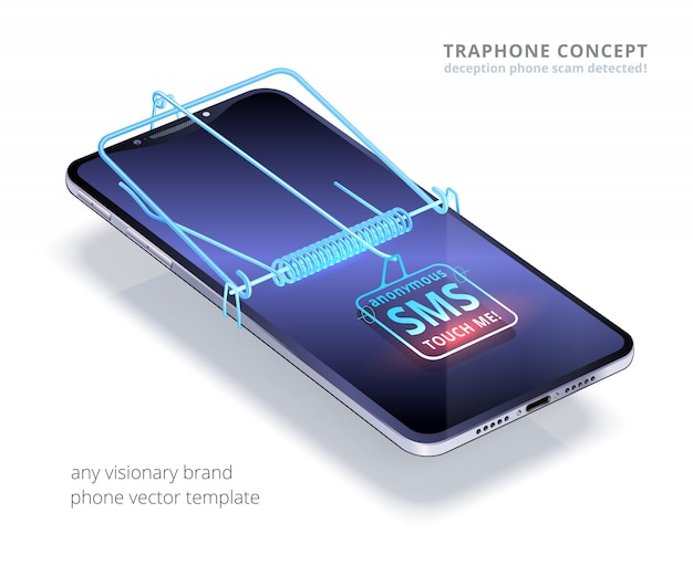 Trap phone concept. sms button is like a bait.