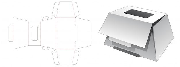 Trapeziod shaped bakery box with top window die cut template