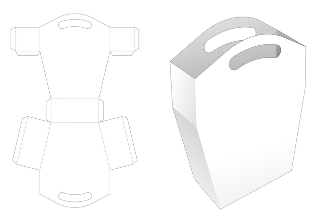 Trapezoid bag with handle die cut template