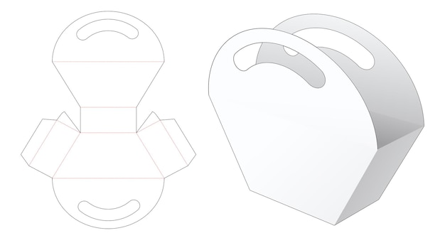 Trapezoid bag with handles die cut template