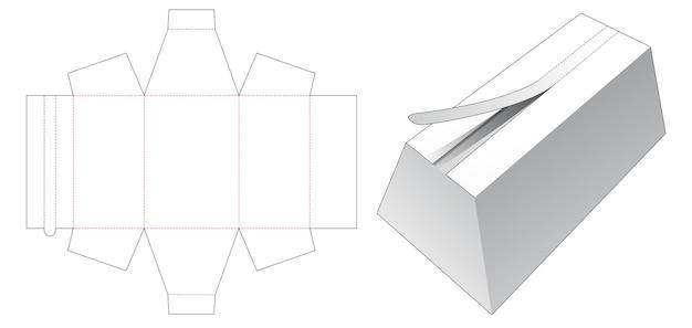 상단 지퍼 다이 컷 템플릿이있는 사다리꼴 상자