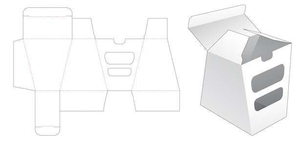 Trapezoid packaging box with 2 window die cut template design