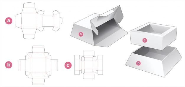 커버 다이 컷 템플릿이있는 사다리꼴 포장 상자