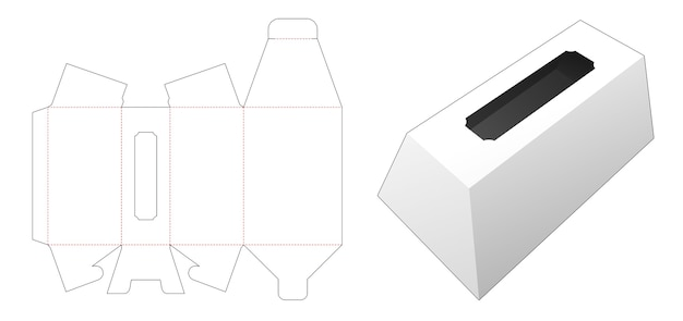 Trapezoid packaging box with window die cut template