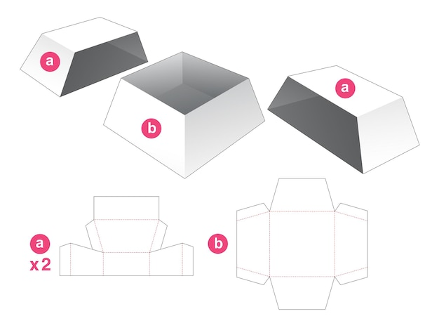 Trapezoid shaped bowl with 2 covers die cut template