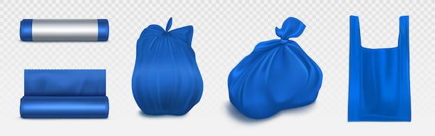 Trash bag mockup, plastic roll and sack full of garbage. blue disposable package for rubbish and supermarket . household supplies for waste throw, isolated realistic 3d illustration set