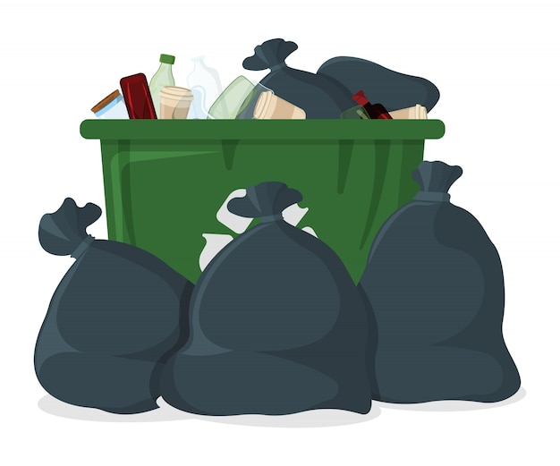 Trash bag with bin and tank icon.