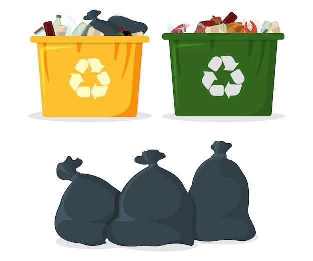 Trash bag with bin and tank icon.